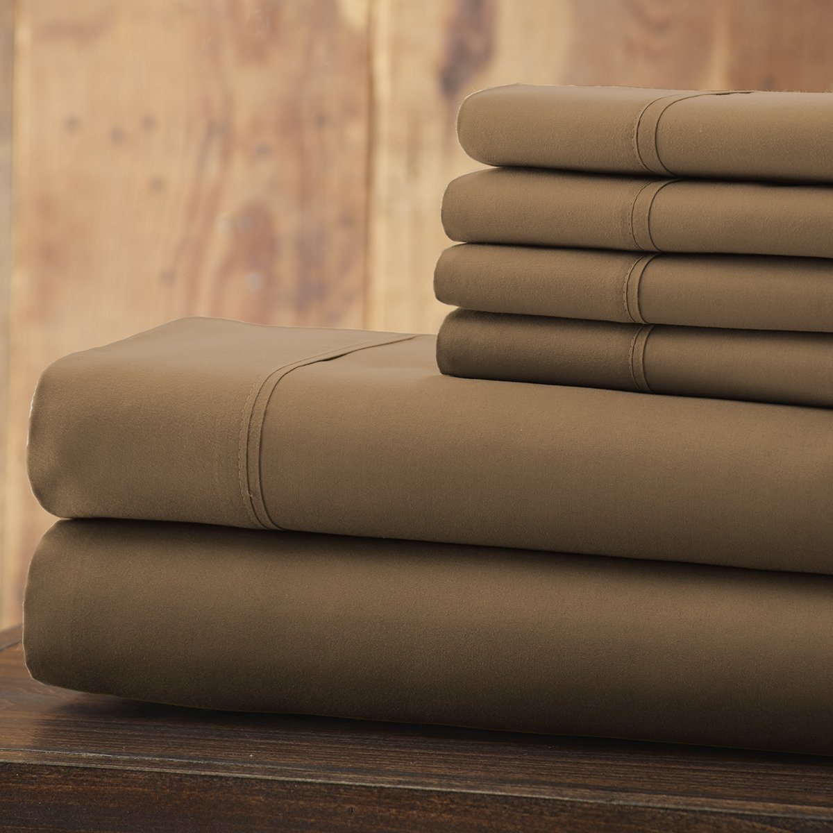 Spirit Linen 6 Piece Everyday Essentials 1800 Series Sheet Set, King, Taupe