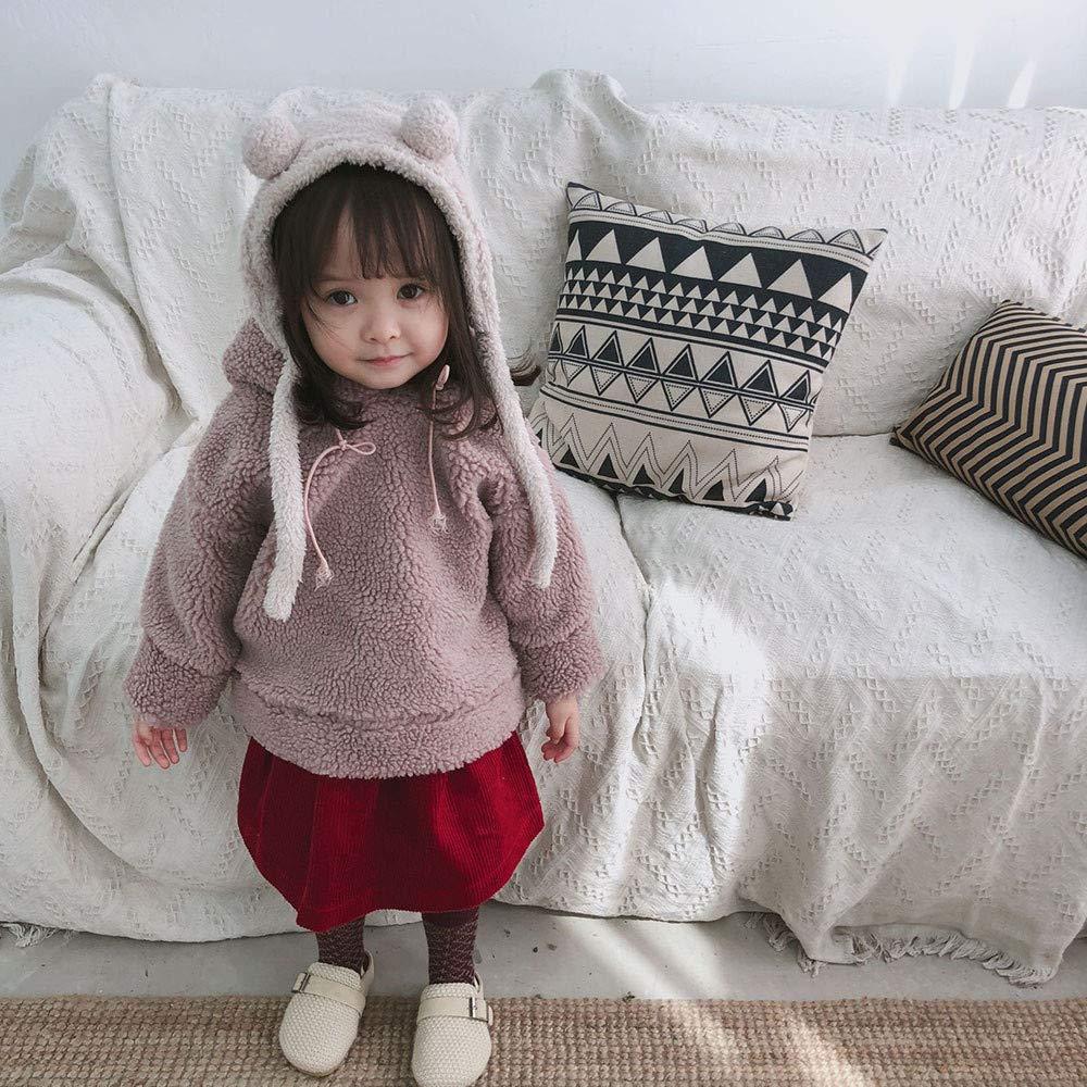 Willsa Baby Girl Clothes Cute Soft Comfortable Toddler Boys Fleece Hooded Fluffy Coat Sweatshirt Outwear Pullover