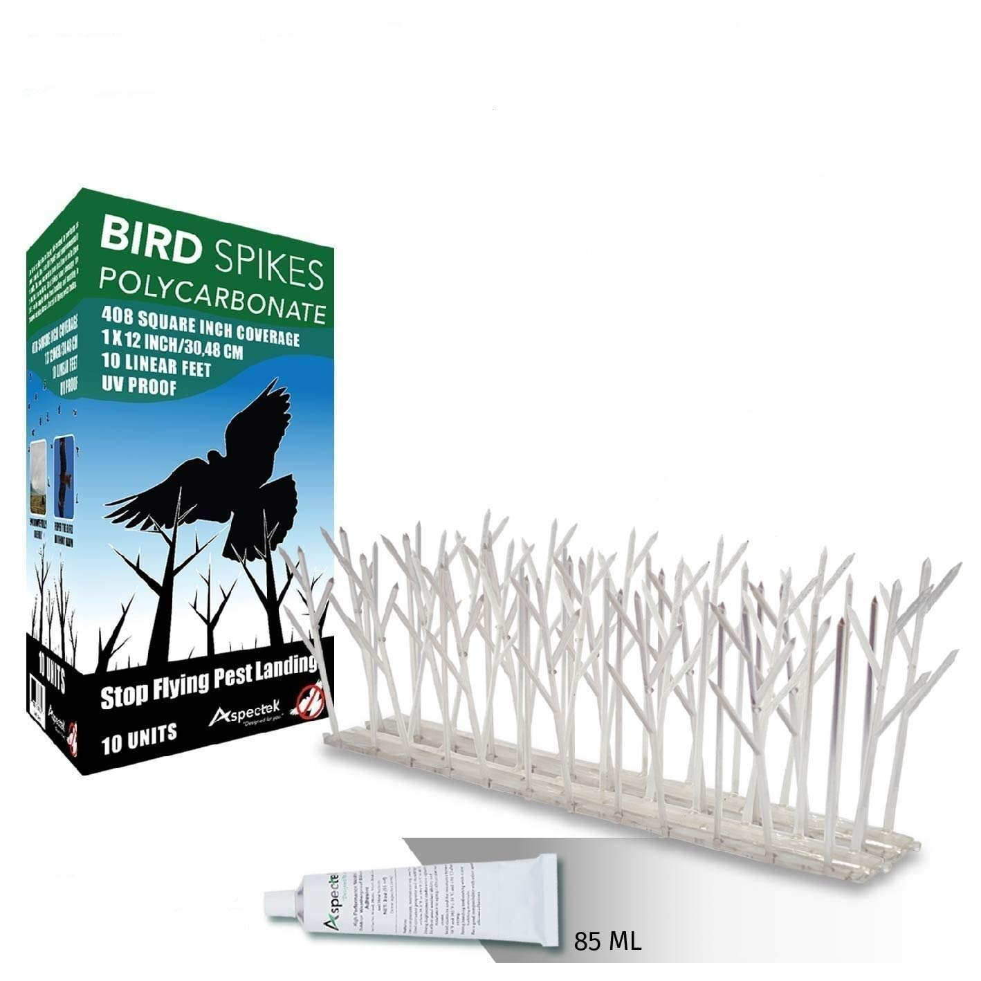 Bird Spikes Kit 10 ft Polycarbonate with Transparent Silicone Glue Tube product image