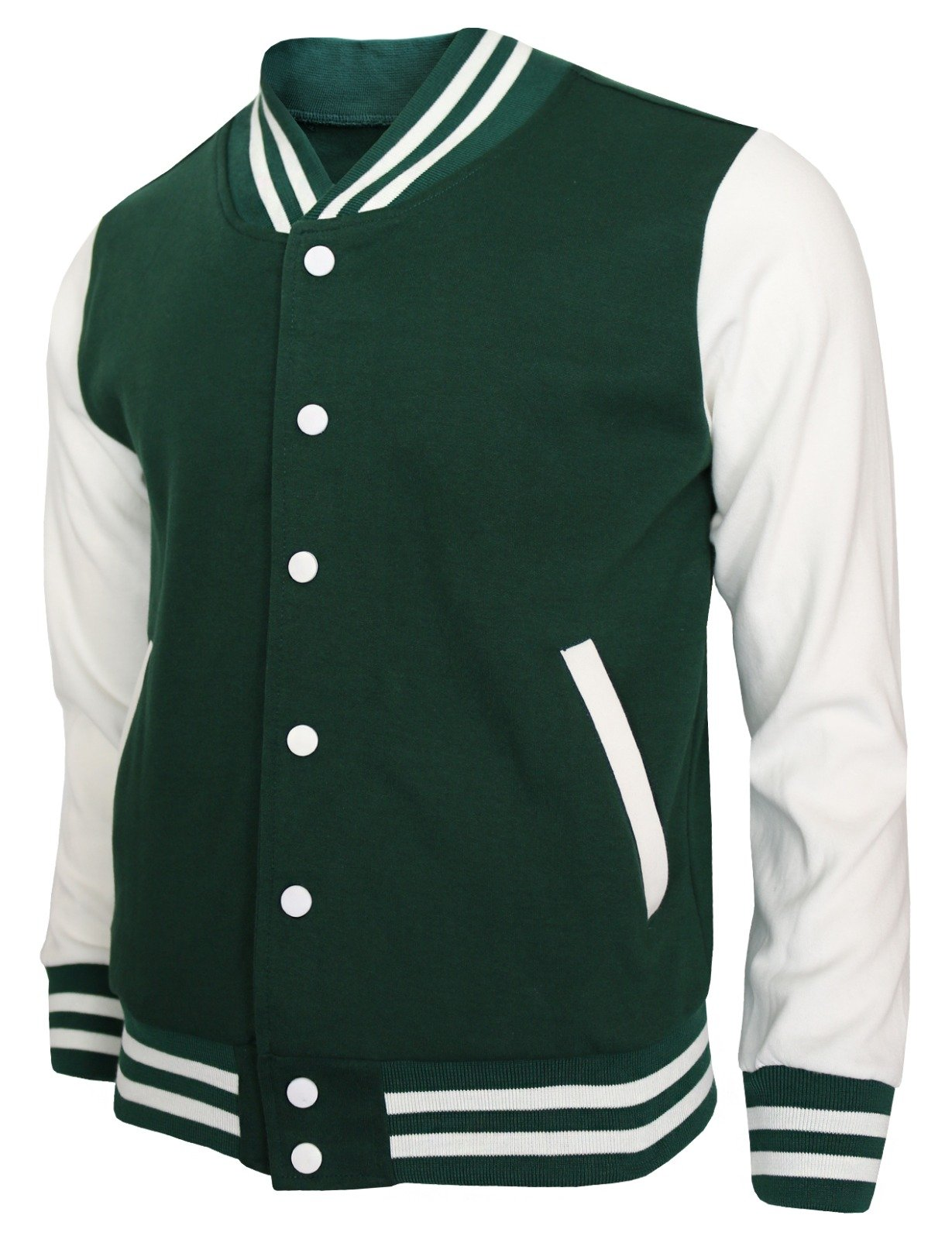 BCPOLO Baseball Jacket Varsity Baseball Cotton Jacket Letterman jacket 8 Colors-green XL US by BCPOLO