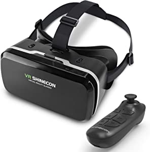 DLseego VR Headset Compatible with iPhone & Android Phone, Remote Controller 3D Glasses Goggles HD Virtual Reality Headset Comfortable Adjustable Distance for Phones 4.7-6.53inch -Black