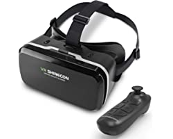 DLseego VR Headset Compatible with iPhone & Android Phone, Remote Controller 3D Glasses Goggles HD Virtual Reality Headset Co