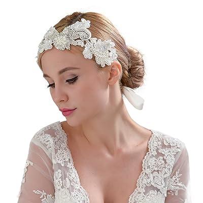 Bandeau de mariage avec cristaux, perles Mariage Bandeau, Floral mariée cheveux Band, bande de cheveux de mariage, H331