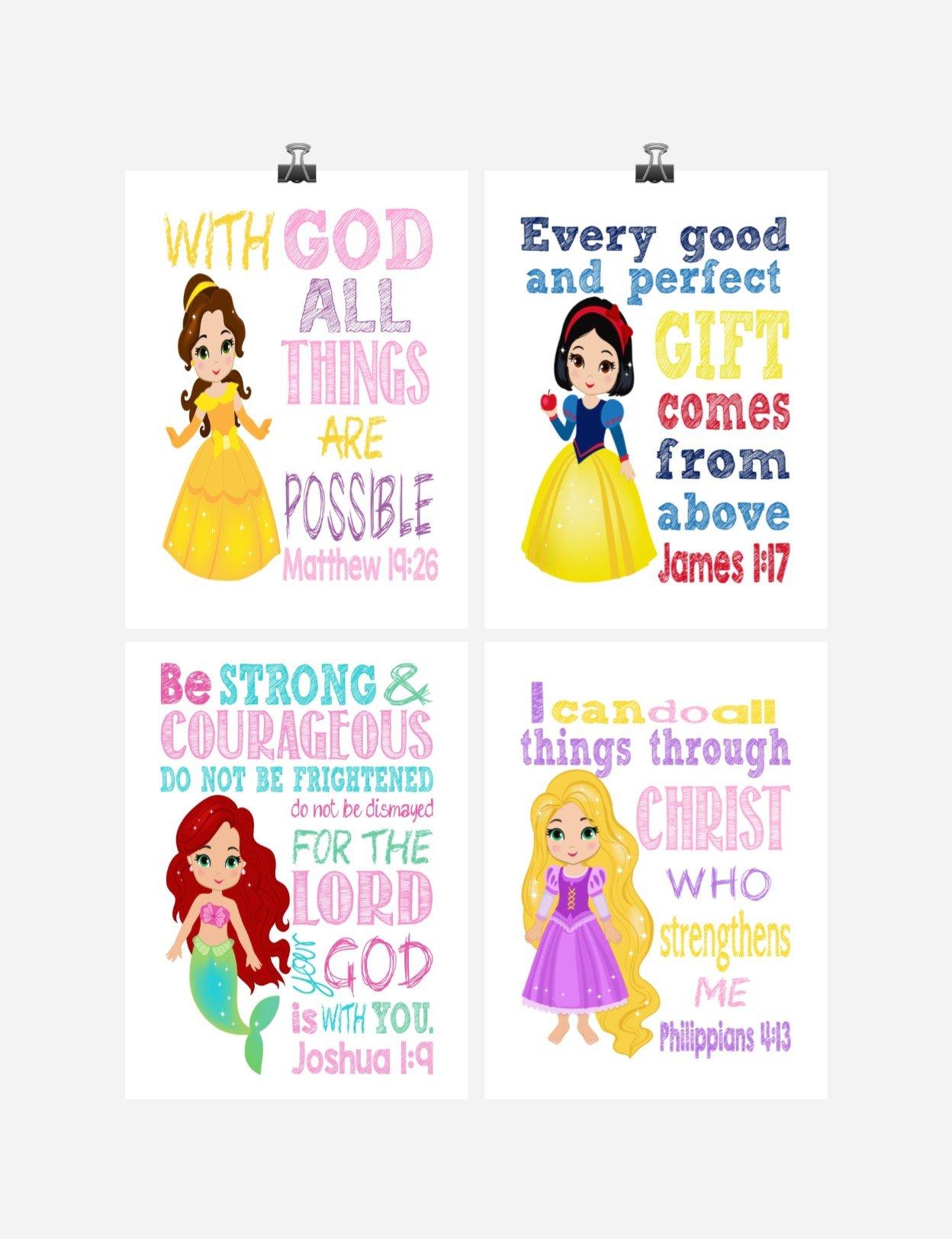 Princess Set of 4 - Christian Nursery Decor Wall Art Print - Belle, Snow White, Ariel Rapunzel - Bible Verse - Multiple Sizes