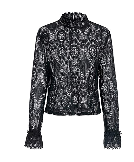 9e5eec4a Asskdan Women's Mock Neck Long Sleeve Floral Mesh Lace Sheer Crochet Blouse  Top T-Shirt