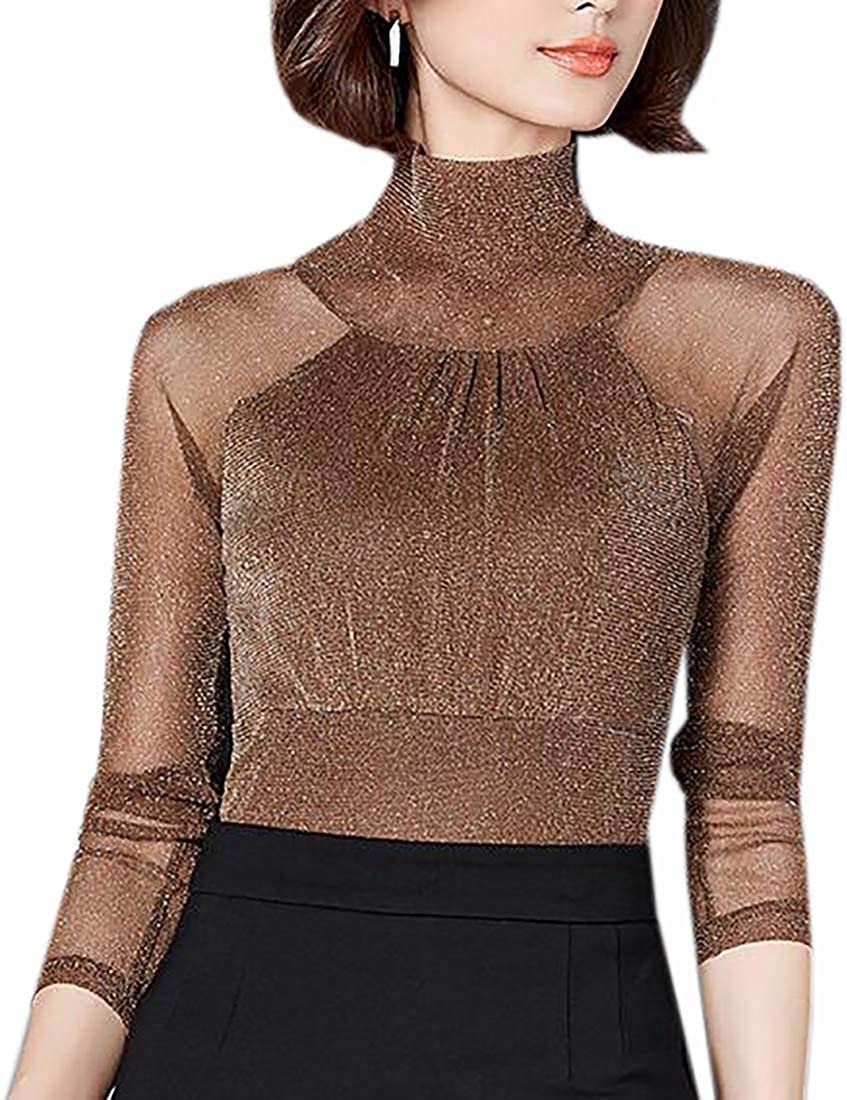 Nanquan Women Turtleneck Long Sleeve See Through Mesh Slim Blouse Tops T-Shirt