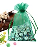 Wuligirl 100 PCS Green Party Wedding Bags Pouches