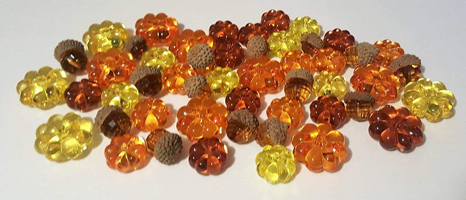 Acrylic Pumpkin and Acorn Gems- Table Scatter, Vase Filler, and Fall Decoration toyco