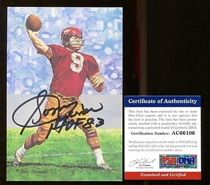06d7cb7531f Sonny Jurgensen Autographed Signed Goal Line Art Glac Autographed Signed  HOF Redskins Memorabilia - PSA/