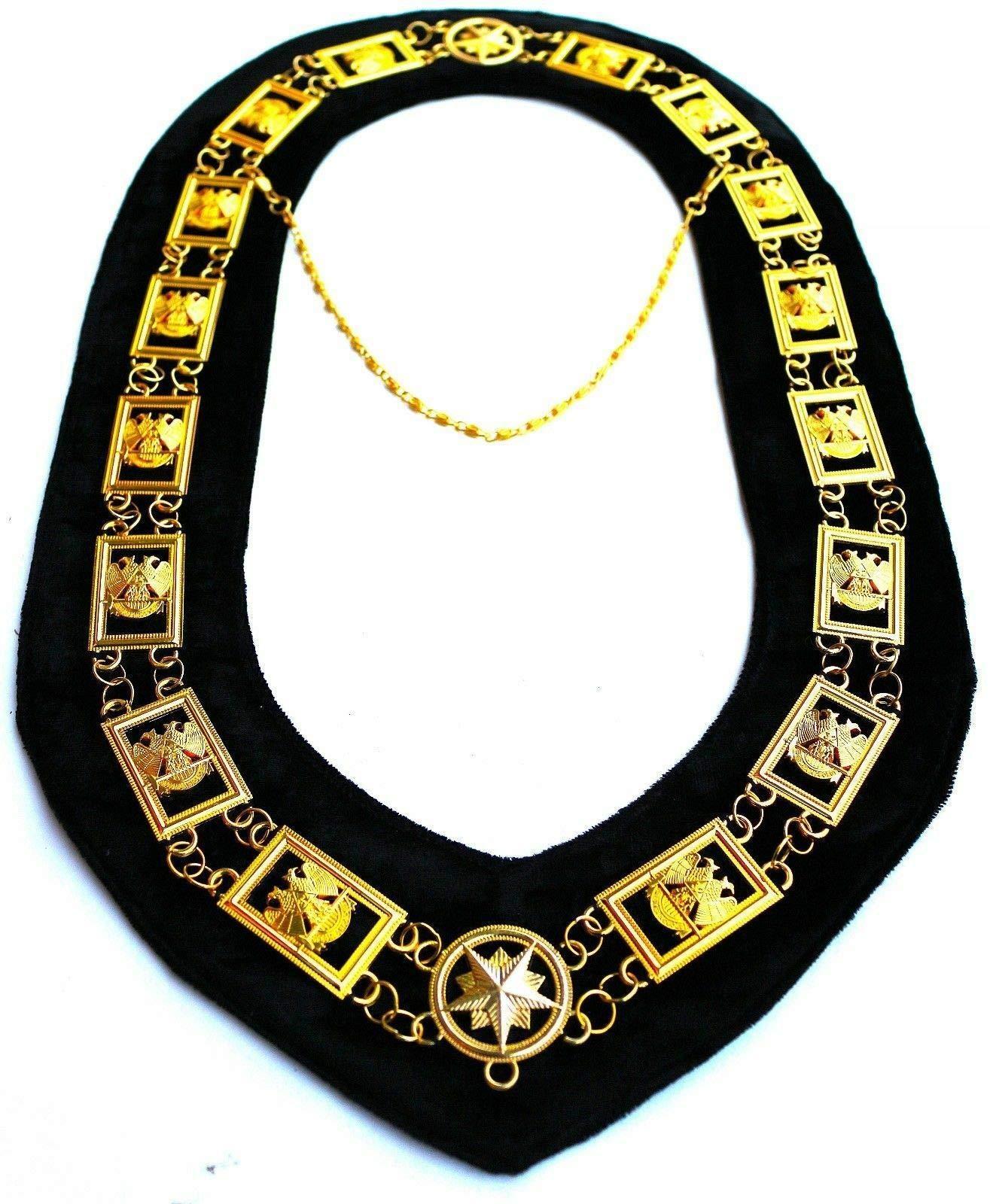 Masonic Collar 32 32ND Degree Wings Down Scottish Rite Gold Plated // Black Backing DMR-1200GBK