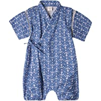 Bommy Baby Boy Clothes Organic Cotton Kimono Short Sleeve Romper Pajamas with Cute Pattern