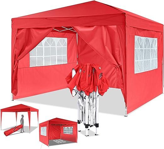 Eloklem Carpa con Paredes | Plegable, Impermeable, con Protección Solar, Ideal para Fiestas en el Jardín | Gazebo, Cenador, Pabellón, Tienda Fiestas (3x3 m, Rojo): Amazon.es: Jardín