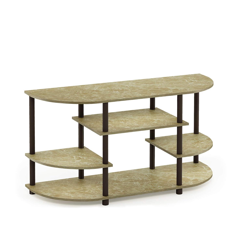 FURINNO JAYA Simple Design Corner TV Stand, Marble Brown Brown