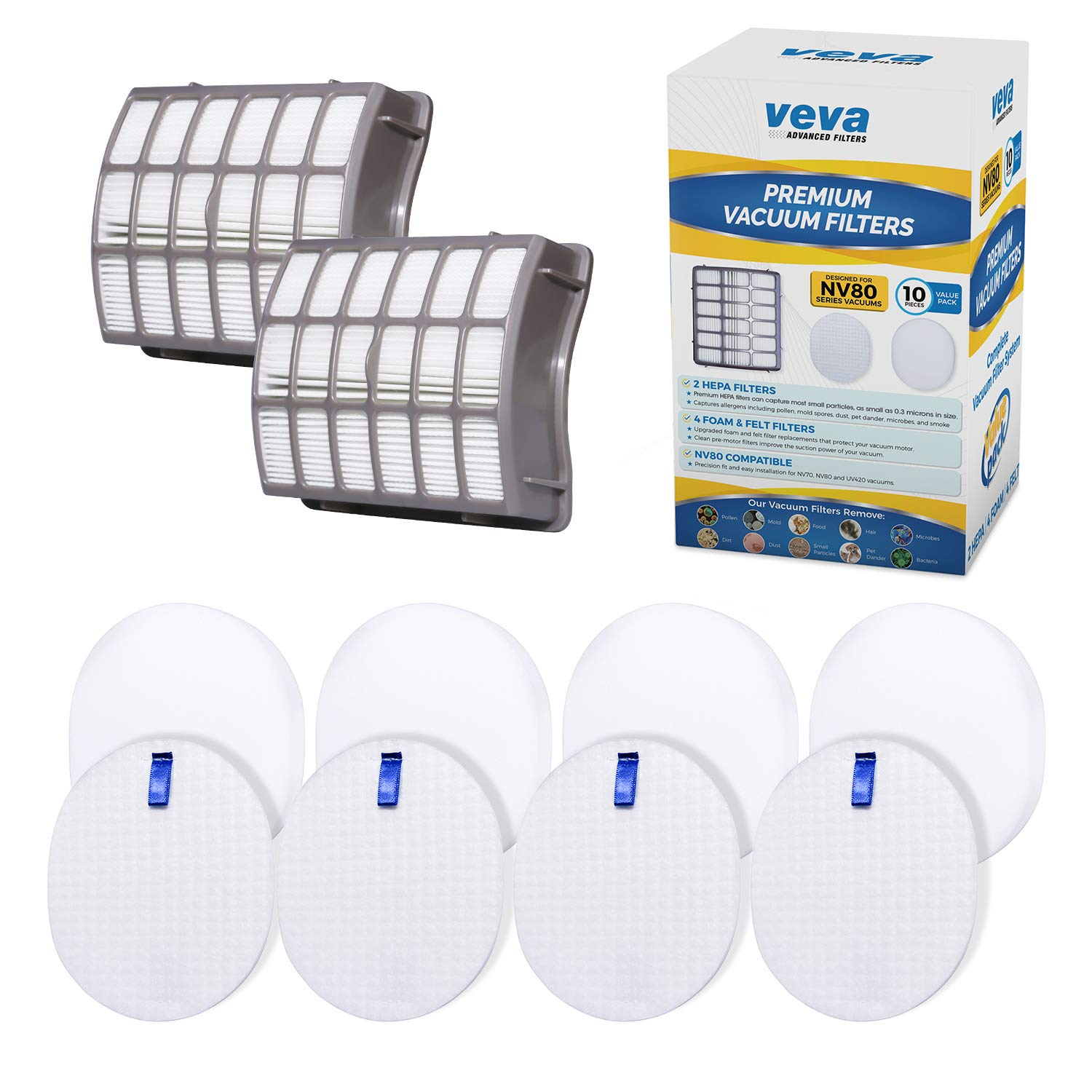 VEVA Complete Premium Vacuum Filter Set Including 2 HEPA, 4 Foam, 4 Felt Filters 10 Pieces Total for Shark Navigator Rotator Professional Upright Model NV70, NV71, NV80, NVC80C, NV90, NV95 & UV420