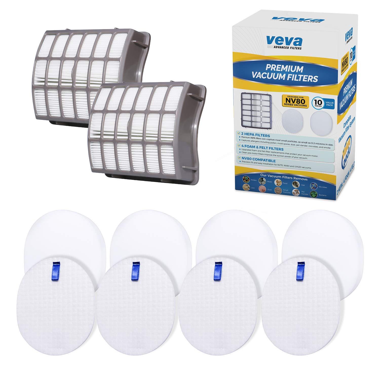 VEVA Complete Premium Vacuum Filter Set Including 2 HEPA, 4 Foam, 4 Felt Filters 10 Pieces Total for Shark Navigator Rotator Professional Upright Model NV70, NV71, NV80, NVC80C, NV90, NV95 & UV420