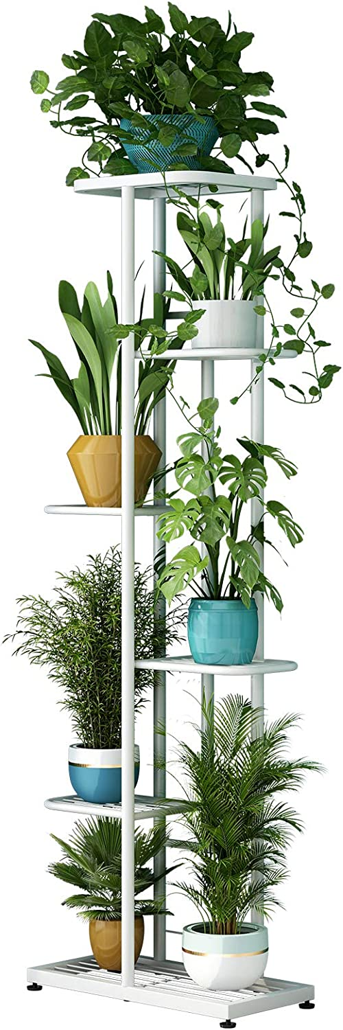 Metal 6 Tier 7 Potted Plant Stand Multiple Flower Pot Holder Shelves Planter Rack Storage Organizer Display for Indoor Outdoor Garden Balcony (6 Tier 7 Potted, White)