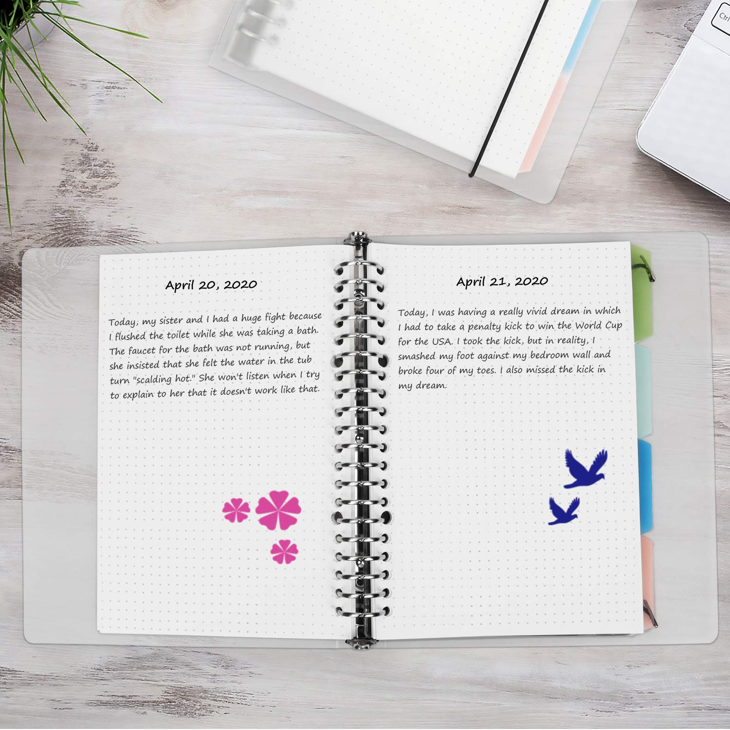 Loose Leaf Dotted Bullet Grid Journal with Divider 100gsm of A5 Paper 60 Sheets MyLifeUNIT Dotted Grid Notebook 1Pack