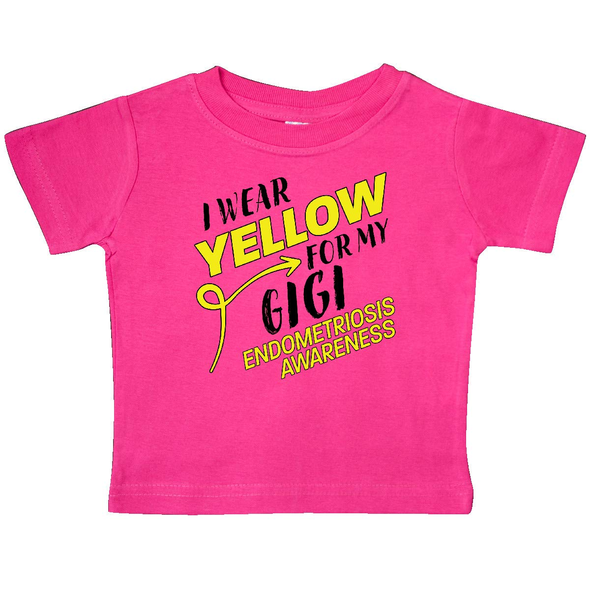 inktastic I Wear Yellow for My Gigi Endometriosis Awareness Baby T-Shirt