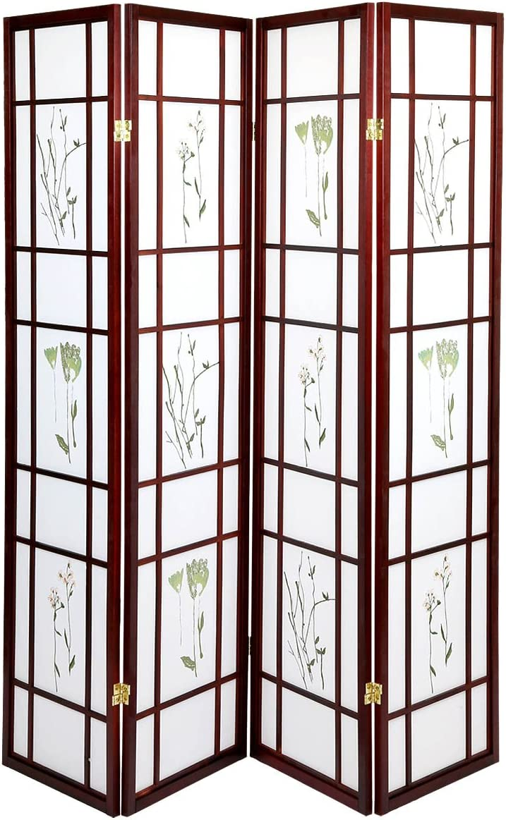 Magshion Oriental Room Divider Hardwood Shoji Screen 4 Panel Small Flowered-Cherry