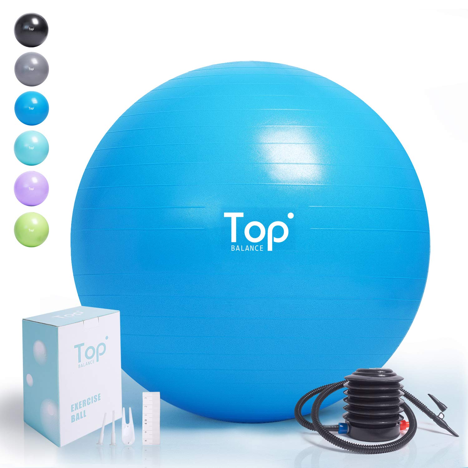 Top Balance Anti-Burst Exercise Ball (Blue, 55cm), Extra Thick Construction Supports up to 1000 lbs, Used for Fitness/Yoga/Ball Chair/Birthing with Easy to Inflate Foot Pump (Office & Home & Gym) by Top Balance