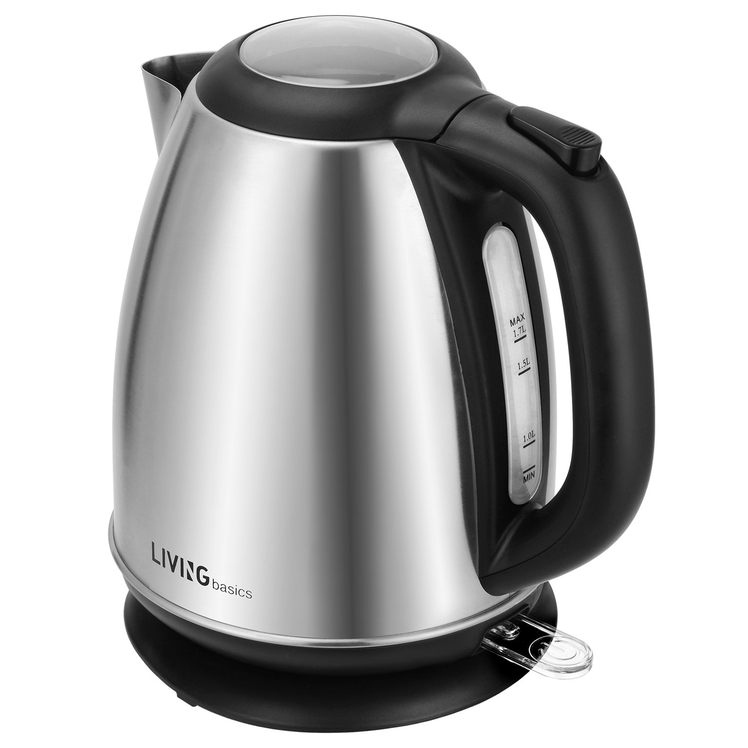 Stainless Steel Electric Kettle - 1.7L 1500W Fast Boiling Tea Kettle - BPA-Free Electric Water Boiler with Auto Shut-Off, Boil Dry Protection, LED Light Indicator - LIVINGbasics