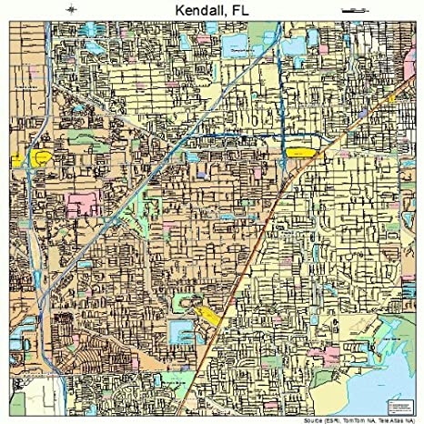 Amazon Com Large Street Road Map Of Kendall Florida Fl Printed