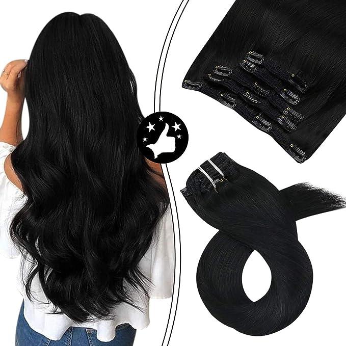 Moresoo Clips Pelo Negro Extensiones de Clip de Pelo Natural #1 negro azabache Cabello Humano 10 Pulagadas/25cm 5Piezas/70G