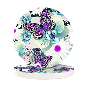 Car Coasters for Cup Holders Insert 2 Pack Chic Purple Butterfly and Teal Flowers Orchid Auto Cupholder Coaster for Your Car Womens Mens Girls Drinks Absorbent Cork Wood Beverage Coasters Set Round