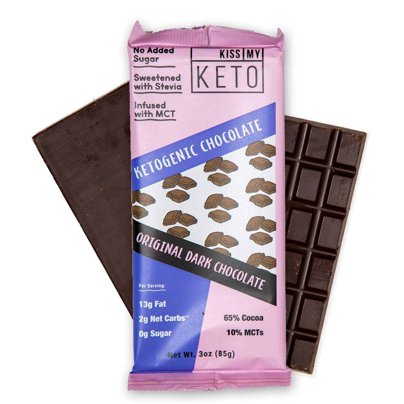 Kiss My Keto Low Carb Keto Dark Chocolate Keto Snack, (4x 3 oz Bars per Pack) A Perfect Sweet Treat with MCT Oil for Ketogenic Diet Support Sugar-Free, Keto Friendly Foods - No Artificial Ingredients by Kiss My Keto