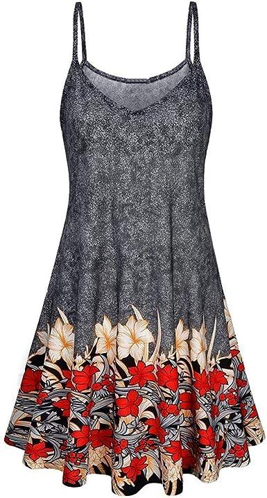 SFHTFTRGJRYJ Mujer Camisas Vintage Fashion Florales Chalecos Elegantes Sin Mangas Sling V-Cuello Vida de la Moda Anchos Plisado Tunicas Blusas Shirt Verano: Amazon.es: Ropa y accesorios