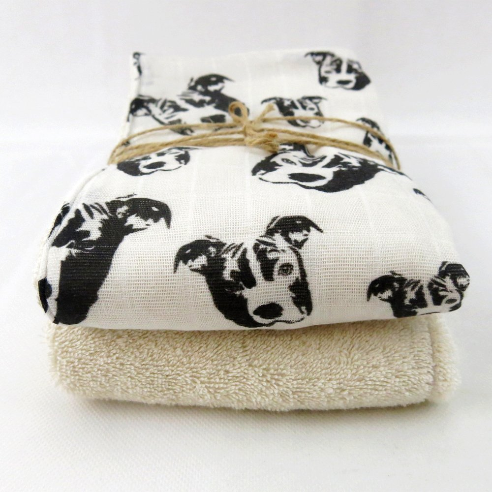 Pit Bull print organic cotton muslin and terry burping cloths double layer size 18'' x 18''