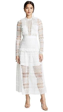 0684960342f Amazon.com  Self Portrait Women s Spiral Lace Paneled Midi Dress  Clothing