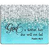 Supwek PSALM 465 God is Within Her,She Will not Fall- Bible Verse Blue Sparkles Glitter Pattern Mouse pad Mousepads