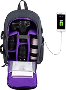 G-raphy Camera Backpack Photography Camera Bag Waterproof with Laptop Compartment/Tripod Holder for DSLR SLR Cameras (Purple with USB)