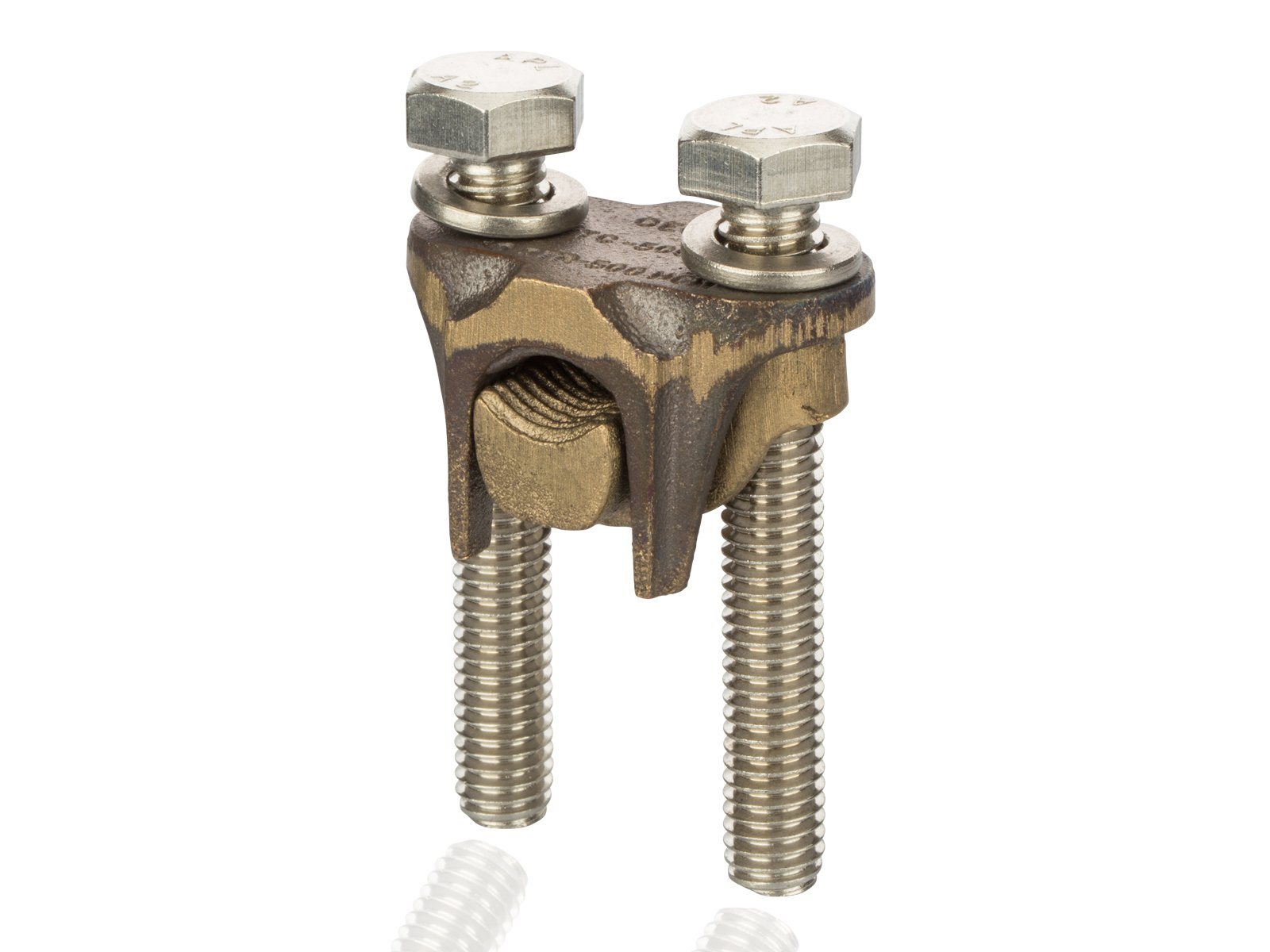 Tap Connector - Two-Bolt Bronze for Copper To Copper, 500 MCM-350 MCM Main Wire Range, 500 MCM-4 sol Tap Wire Range by NSi Industries, LLC