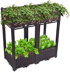 Set of 4 Raised Garden Bed Kits,Can Automatically Water The Plastic Seeder,Suitable for Growing Vegetables and Flowers Indoors