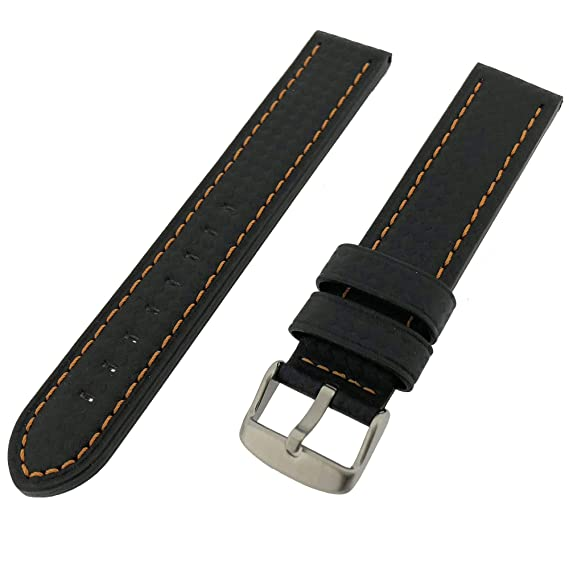 a9cf5966d Image Unavailable. Image not available for. Color: 24mm Watch Band Black  Carbon Fiber Orange Stitching Water Resistant