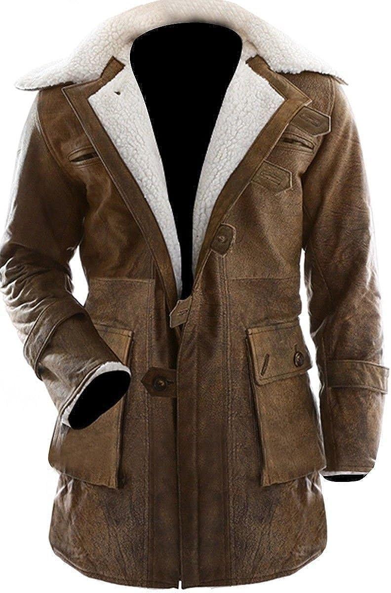Men/'s Shearling Coat Brown Swedish Bomber Genuine Leather Jacket