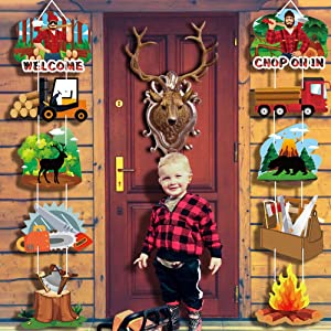 Lumberjack Party Supplies Door Signs – Lumberjack Birthday Party Decorations Banner Ornaments – Welcome Door Celebration Props for Indoor Outdoor Wall Décor for Baby Shower Winter Party (10 Counts)
