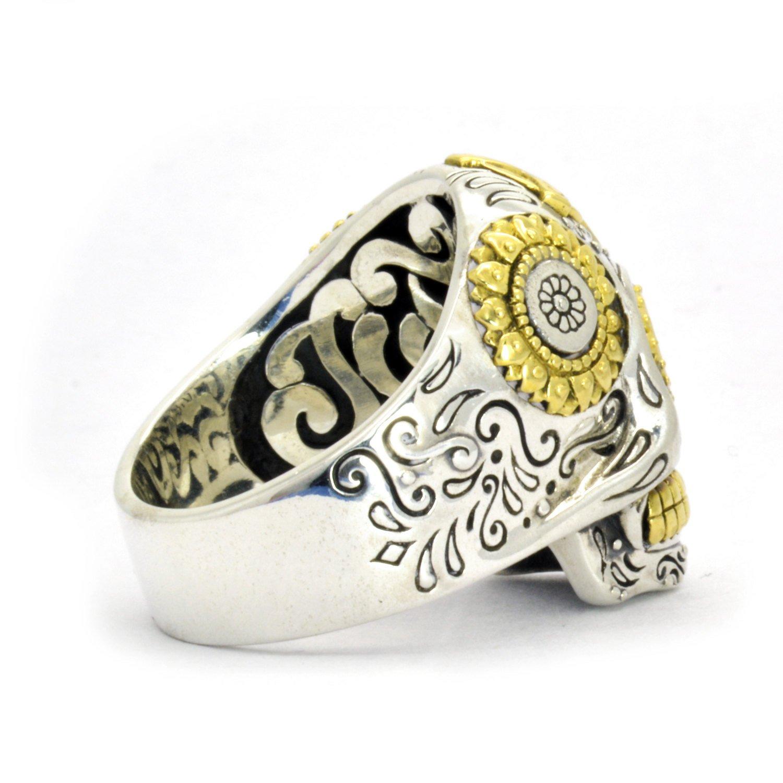 galleon   sterling silver biker sugar skull ring for men