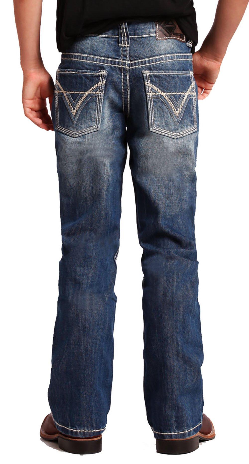 Rock & Roll Cowboy Boys' and Bb Gun Distressed Vintage Boot Cut Jeans Denim 6