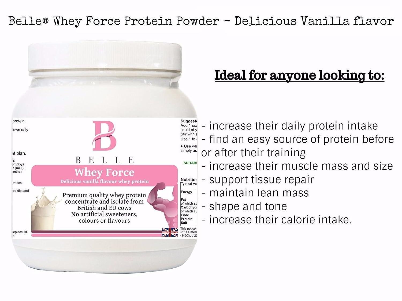 Belle® Whey Force Protein Powder - Deliciosa proteína de suero de leche con sabor a vainilla - Sourced de concentrado y aislamiento de suero de leche - rico ...