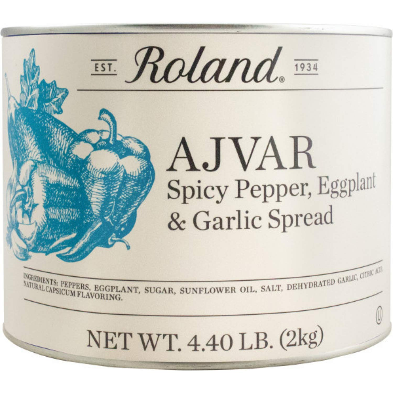 Roland Foods Ajvar with Spicy Pepper, Eggplant, and Garlic Spead, Specialty Imported Food, 4.4-Pound Can