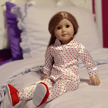 fd45ebf70e 18 Inch Doll Red Polka Dot Satin Pajamas for Dolls with Furry Slippers -  Cutest Doll ...