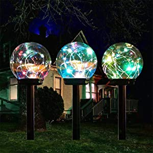 Lebote Tec Solar Lights Outdoor,Color Changing Solar Globe Lights,Waterproof Decorative Solar Landscape Garden Light for Lawn,Yard,Path(3 Pack)