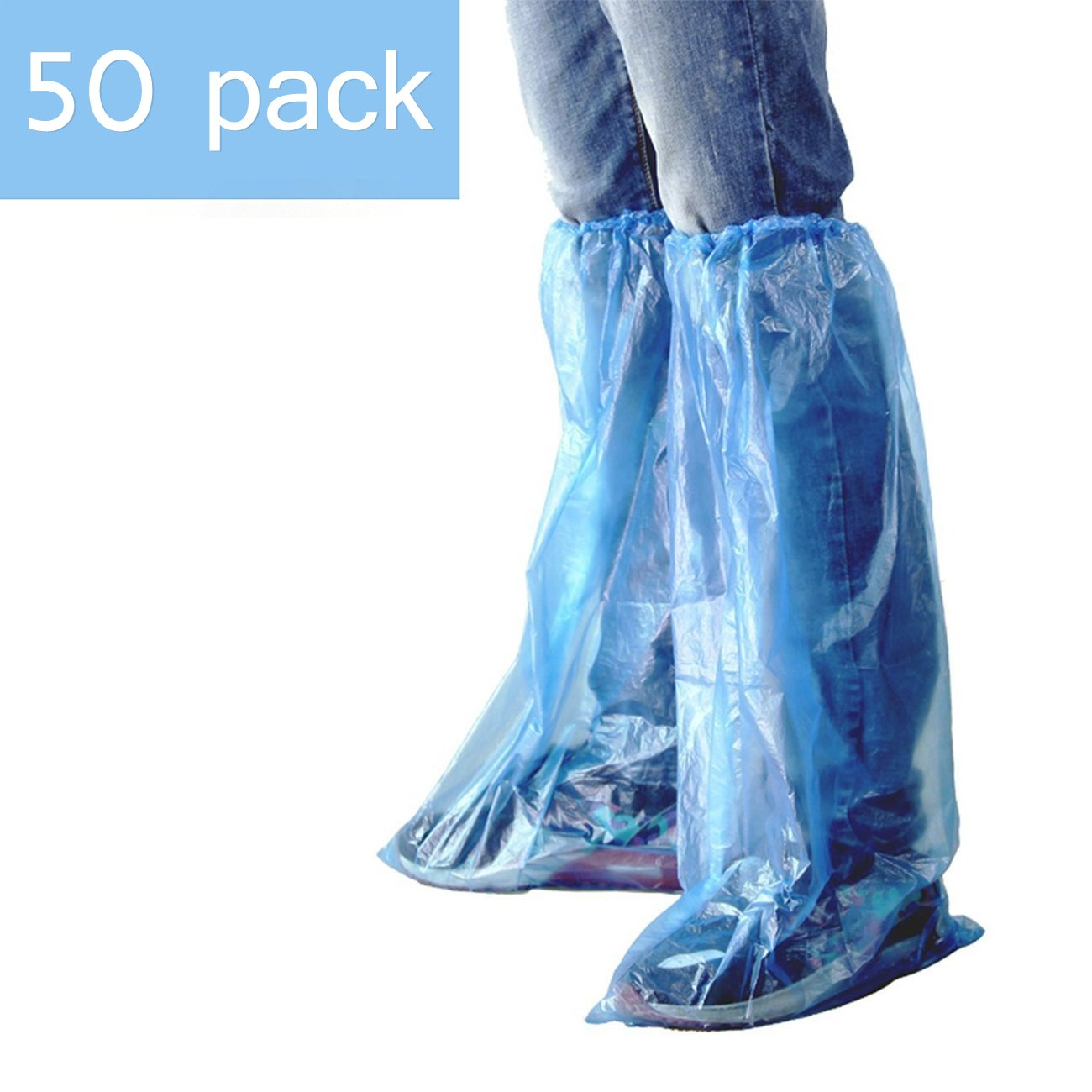 HUABEI 50 Pack Disposable Shoe Covers Blue Rain Shoes and Boots Cover Plastic Shoe Cover Clear Waterproof Anti-Slip Overshoe for Women Men Water Boots Cover Rainy Day Use