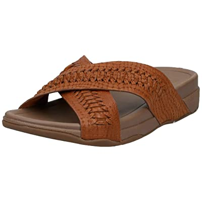 FitFlop Men's Surfer Slide Woven Leather Croc-Emboss Sandal | Sport Sandals & Slides