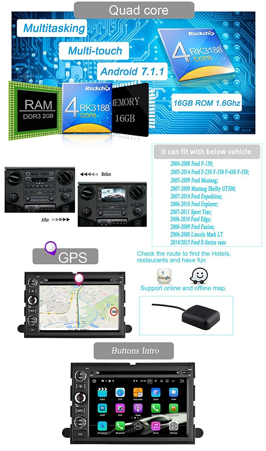 Yinuo Quad Core 16gb 7 Inch Android 71 Double Din Car Fotos 2006 Ford F 150 Lincoln Mark Lt Wiring Diagram Manual Original Dvd Player In Dash Gps Navigation For F150 2004 2008 Fusion 2009 Explorer Edge 2007 Expedition