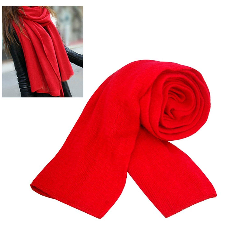 SODIAL (R) Donne Uomini scaldino di inverno Moda scialle Sciarpa lunga morbida - rosso