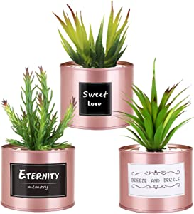 Artificial Plants for Women Office Decor, 3 Pack Realistic Fake Plants with Metal Pots for Home and Office Decoration, Pet and Kid-Safe PE Plastic Decor Plants, Rose Gold Desk Accessories for Women